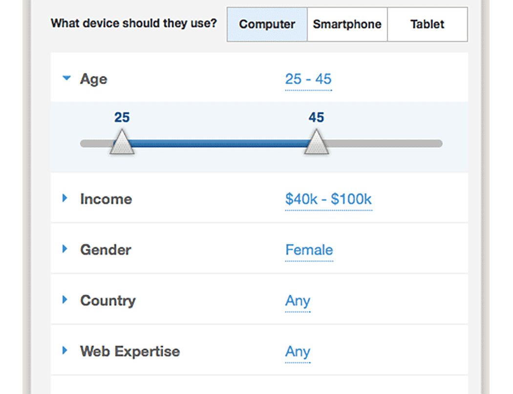 Screenshot of demographic UI