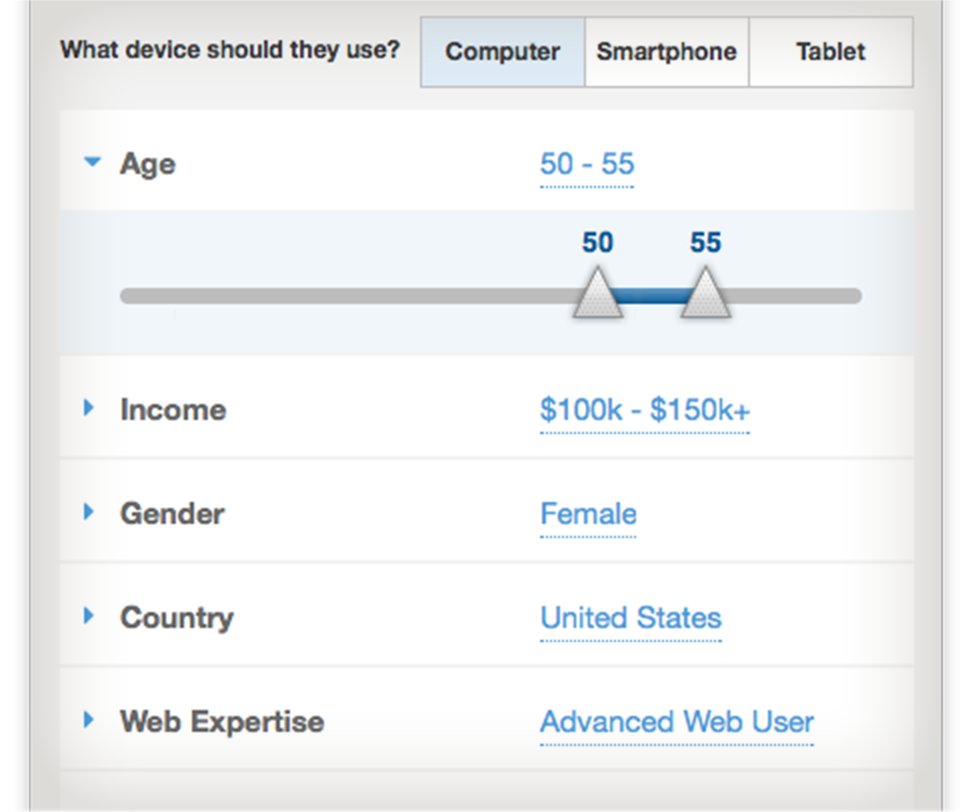 screenshot of demographic controls