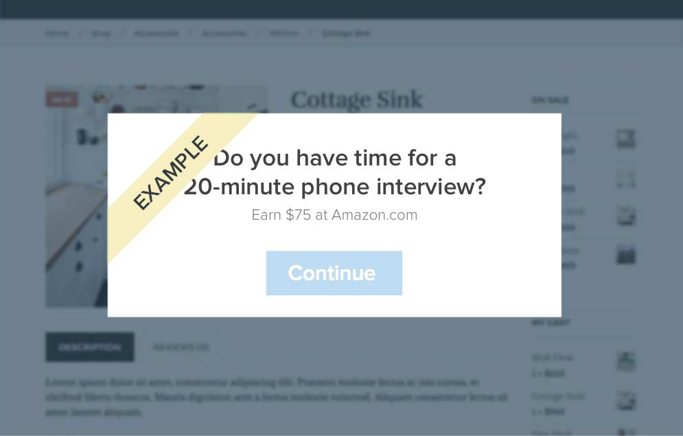 Screenshot of questionnaire modal